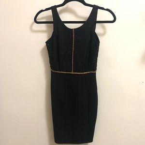 H&M black dress with golden details
